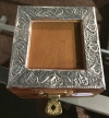 Small Picture Frame Trinket Box Embossed aluminum on wood