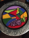 Painted and Embossed aluminum on wood  plate