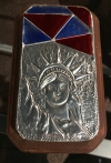 Lady Liberty Embossed aluminum on wood