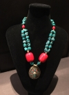 Bohemian Turquoise Necklace with red accents