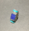 Blue With Turquoise Accents, Authentic Indian Adjustable Ring
