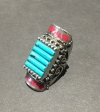 Turquoise With Red Accents, Authentic Indian Adjustable Ring