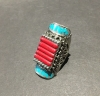 Red With Turquoise Accents, Authentic Indian Adjustable Ring