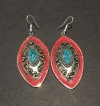 Red With Turquoise Center, Authentic Indian Earrings