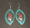 Turquoise With Red Center, Authentic Indian Earrings