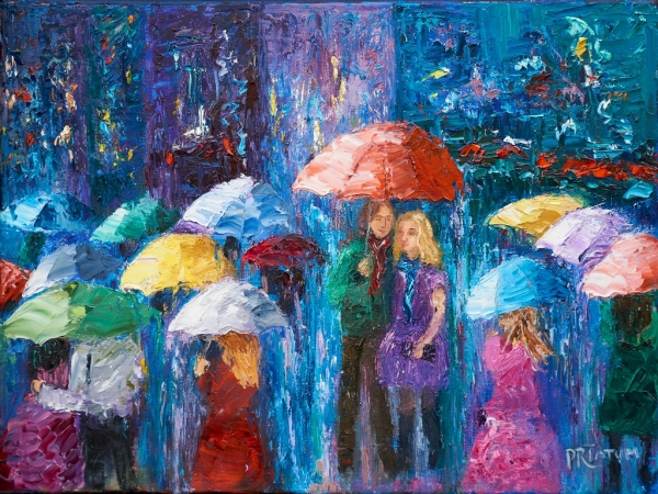 Lovers Walk in Paris Rain IV