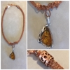 Viking Knit Woven chain with Amber Pendant