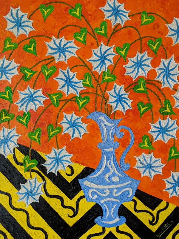 Pierre H Matisse Floral With Blue Vase