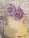 Purple Flowers in a Yellow Vase