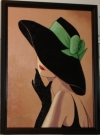 Flirty Black Hat with Green Ribbon