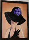 Flirty Black Hat With Lavender Lilies