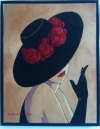 Flirty Black Hat with Scarlet Roses