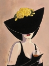 Flirty Black Hat With Brandy And Roses
