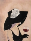 Flirty Black Hat With Cabernet And Roses