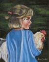 Girl with pet Chicken